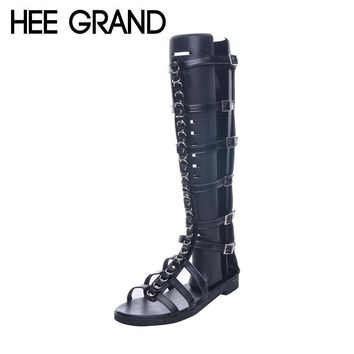 HEE GRAND Brand Fashion Metal Chain Gladiator Sandals Woman Flat With Summer Shoes Buc