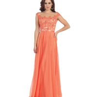 Coral Pink Lace Bodice Gown 2015 Prom Dresses