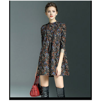 Spring Big Size A Shape Skirt Seventy Percent Sleeve Loose Round Collar Loose Vintage Printing Dress