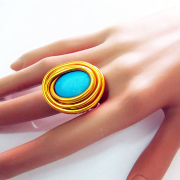 TURQUOISE Gold Ring Adjustable Gold Ring, Turquoise Gemstone Ring, Gold Turquoise Ring, Unique Turquoise Gold Ring, Gold Wire Ring, Gold
