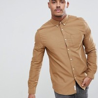 River Island Regular Fit Oxford Shirt In Brown at asos.com