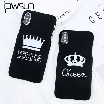 iPWSOO For iPhone X 6 6s 7 8 Plus 5 5s SE Phone Case Cute Cartoon Crown Letter KING Queen Hard PC Couple Shell For iPhone 8 Case