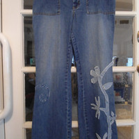 Size 14 Old Navy Upcycled Redesigned Repurposed Blue Jeans Hippie Boho Style Clothes