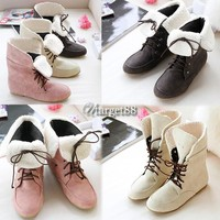 Women's Fashion Style Lace Up Winter Short Boots Flat Ankle shoes 3 Colors UTAR