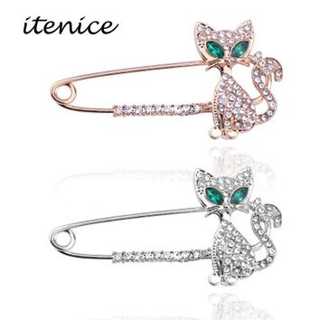 Itenice Cute Gold Kitten Brooch Fashion Sparkling Crystal Cartoon Pin Green Eyes Cat Women Jewelry Brooches Accessories Gift