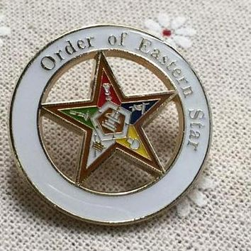 Order of Eastern Star White Masonic Lapel Pin