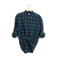 Vintage Plaid Flannel 90s Oversized Blue & Green Grunge Boyfriend Button Up Long Sleeve Cotton Preppy Boho Tomboy Womens Mens Large