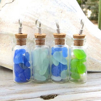 Sea Glass Necklace Vial Cobalt Ocean Blue