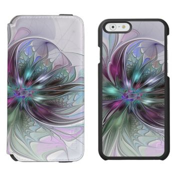 Colorful Fantasy Abstract Modern Fractal Flower iPhone 6/6s Wallet Case