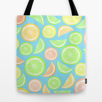 Mixed Citrus - blue Tote Bag by Lisa Argyropoulos