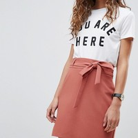 ASOS DESIGN tailored obi tie mini skirt at asos.com