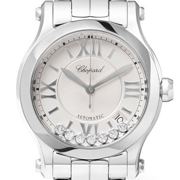 Chopard - Happy Sport 36 stainless steel and diamond watch