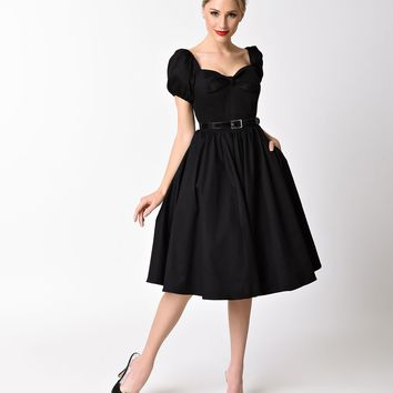 Vixen by Micheline Pitt Black Cotton Stretch Cap Sleeve Vixen Swing Dress