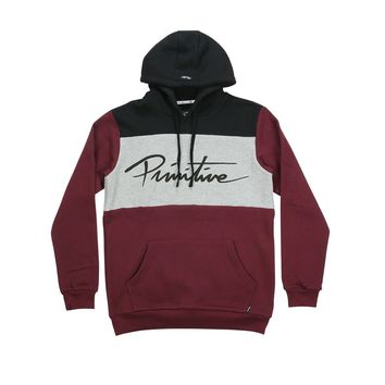 Primitive Apparel SIDELINE PULLOVER HOODIE-ATHLETIC HEATHER/BURGUNDY Mens Apparel Outerwear at Primitive Store