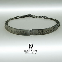 Arabic Nameplate Bracelet, Black Silver Plated, Silver, Personalized Name in English & Arabic Engraved Letters, 2 Name, Slim, BR011D