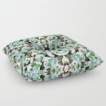 Aztec Floral Pattern Floor Pillow by ARTbyJWP