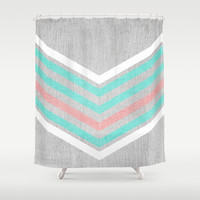 Teal, Pink and White Chevron on Silver Grey Wood Shower Curtain by Tangerine-Tane