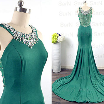 Green Jersey Evening Dresses, Straps with Crystals Green Mermaid Evening Gown, Long Green Formal Dresses, Mermaid Jersey Long Prom Gown