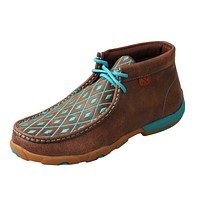 Twisted X Women's Brown/Turquoise Leather Lace-Up Moccasins