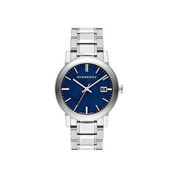 Burberry Embossed Blue Dial Stainless Steel Quartz Men's Watch BU9031