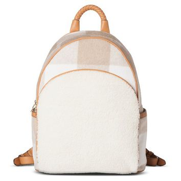 Adam Lippes for Target Shearling Backpack - Oatmeal Plaid