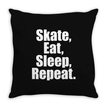 Skates Eat Sleep Repeat Throw Pillow
