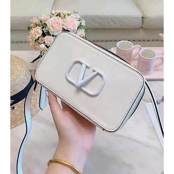 Valentino High Quality Fashion Women Leather Satchel Shoulder Bag Crossbody White