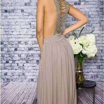 Euphoria Taupe Crochet Back Maxi Dress