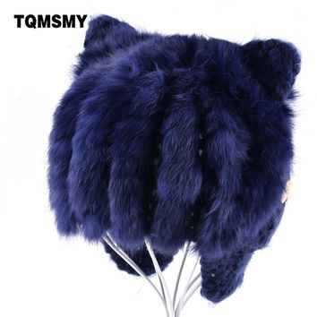 TQMSMY Rabbit Fur Hats for boys Knitted wool Beanies childrens lovely winter hat keep warm cat ear flaps bone girls cap for kids