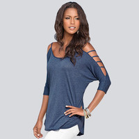 SIMPLE - Fashion Trending Fashion Women Off Shoulder T-shirt Top b4651