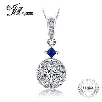 JewelryPalace Elegant Created Blue Spinel & CZ Women Necklaces Pendant 100 925 Sterling Silver 45cm Box Chain Brand Fine Jewelry