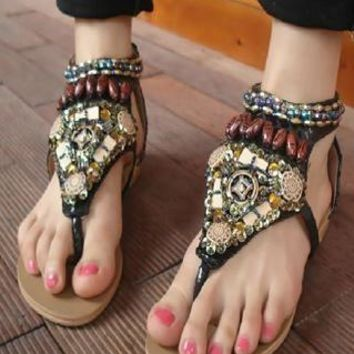 Retro Bohemian Beaded Flat Sandals from styleonline