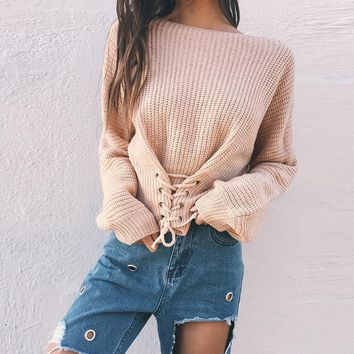 Women Solid Color Drawstring Bandage Long Sleeve Sweater Short Knitwear Tops
