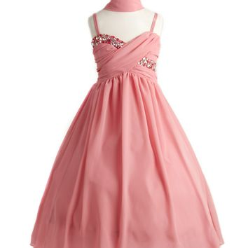 Coral Big Girls' Wrapped Crystal Ruched Chiffon Gown Flower Girls Dress