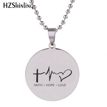 2018 New Faith Hope Love Lifeline Pendant Hand Craft Stainless Steel Necklace Art Round Jewelry Ball Chain For Men HZ7