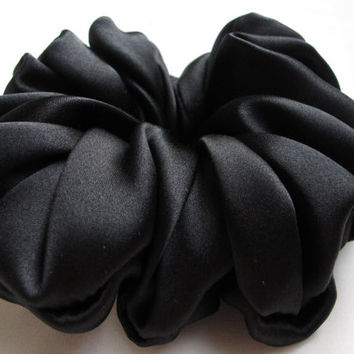 Free shipping silk hair scrunchie. Hypoallergenic hair accessories. Black silk hair scrunchie. Black silk charmeuse hair scrunchie.