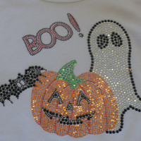 "8"" pumpkin ghost bat BOO iron on rhinestone TRANSFER for Halloween t-shirt"