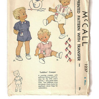 Vintage 1940's McCall 1237 Creeper Romper Suit Sewing Pattern, Unused Embroidery & Applique Transfers, 6 Months, Rare Vintage Sewing Pattern