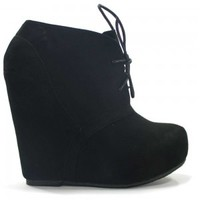 Bamboo Debrah-01N Black, Nude Wedge Booties Faux-Suede Lace Up | Shoetopia.com
