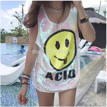 Long Style Women Stage Tops Smiling Face Long Tanks Sequined Sexy Girl Hip Hop clothing Costumes Loose Vest jazz Dance Free S-XL