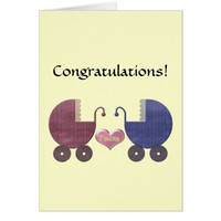 Congratulations Twins, with Blue and Red Pram Art Card