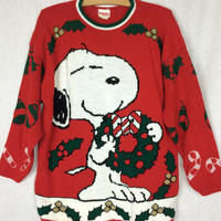 "Vintage ""Snoopy and Friends"" Red Christmas Sweater"