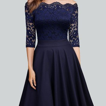 New Navy Blue Pleated Lace Off Shoulder Backless 3/4 Sleeve Homecoming Party Midi Dress