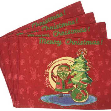 """DaDa Bedding Santa Clause Placemats, Set of 4 Christmas Tapestry 13"""" x 19"""" (17615)"""