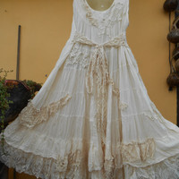 """20% SALE vintage inspired bohemian cotton tiered dress small to 40"""" bust..."""