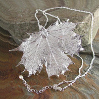 Maple Leaf Necklace Sterling Silver Chain Real Maple Leaf Pendant Necklace Autumn Harvest Fall Fashion