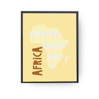 Africa Yellow Print, Classroom Decor, Nursery Wall Art, Typography Poster, Children Decor, Africa Map Print, Kids Education, Continent Map