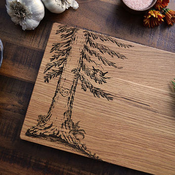 Personalized Cutting Board, Custom Engraved Wood Tree w/ Carved Heart, Valentines Day Gift, Wedding or Anniversary Gift, Cheese Board