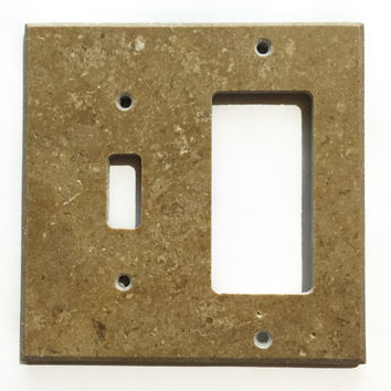 Noce Travertine Toggle Rocker Switch Wall Plate / Switch Plate / Cover - Honed