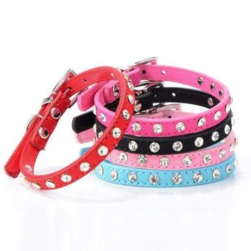 DCCKU7Q Super Deal Rhinestone Adjustable Leather Dog Puppy Cat Collars Necklace Neck #01